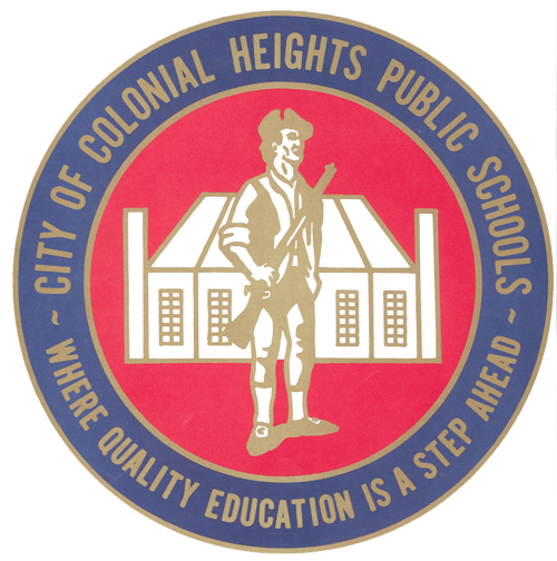 Primary blue and red seal of colonial heights schools