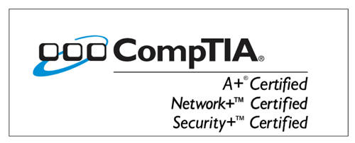 badge for comptia certified a+, net+, and security+